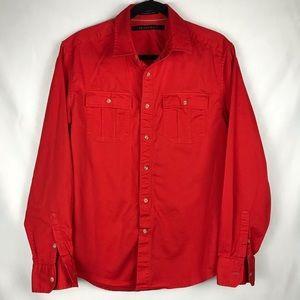 Sean John Shirt Button Down Pockets Red Large